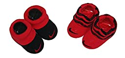 Nike Baby Boys\' Booties - 2 pk (0-6 Months, Black/Red)