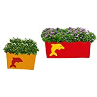 First Smart Deal Metal Railing Rectangular Planter Large & Small With Dolphin Show Multi - Pack Of 2