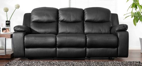 Montreal Midnight Black Reclining 3 Seater Leather Sofa Deal