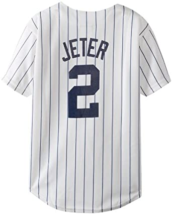 MLB New York Yankees Derek Jeter Home Replica Youth Jersey, White Navy Pinstrps by Majestic