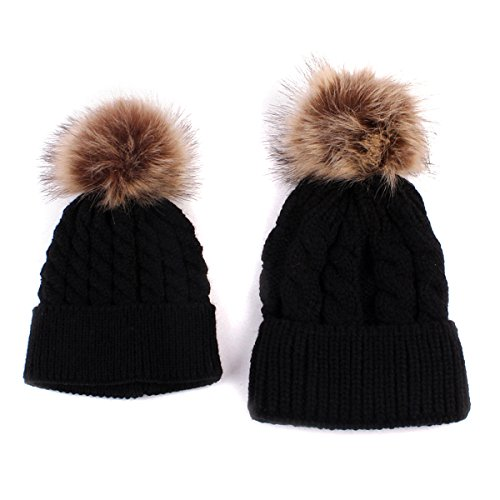 2PCS Parent-child Hat Warmer ,Oenbopo Mother & Baby Daughter/Son Winter Warm Knit Hat Family Crochet Fur Wool Beanie Ski Cap