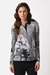 Fashion Show Long Sleeve Pique Landscape Print Polo Shirt
