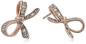 10k Rose Gold Diamond Bow Earrings (0.05 cttw, I-J Color, I2-I3 Clarity)