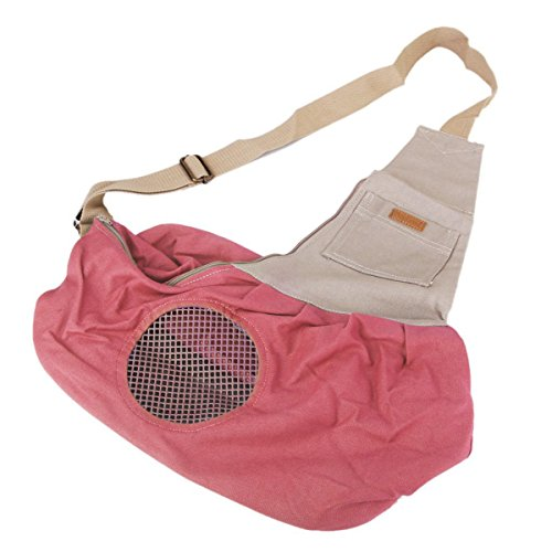 Tinksky Tiny Canvas Pet Dog Cat Carrier Sling Shoulder Bag Carrier Bag (Pink)