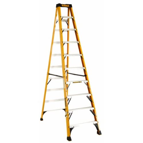 DeWalt DXL3010-10 10-Feet Fiberglass Stepladder Type IA with 300-Pound Duty Rating, 10-Feet, Color may vary