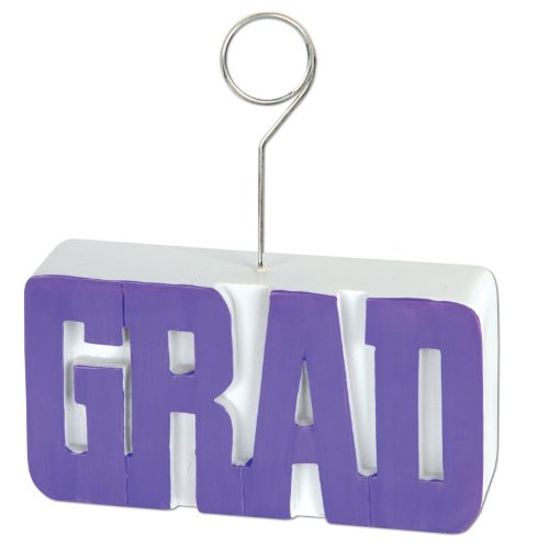 GRAD Photo/Balloon Holder (purple) Party Accessory  (1 count)