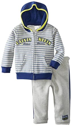 Calvin Klein Baby-Boys Infant Stripes Hoody Top With Pant, Gray, 12 Months