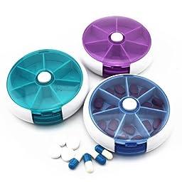 DIAOSnx Round Shaped 7 Compartment Drug Organizer Case Pill Box 3 Pcs