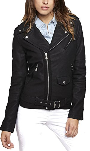 Express Women's Minus the Faux Leather Motorcycle Biker Moto Jacket Black: Small