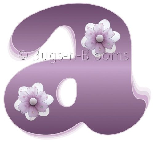 """a"" Purple Daisy Flower Alphabet Letter Name Wall Sticker - baby nursery girls room decor baby nursery girls room decor decoration decorations mural stickers bedroom"