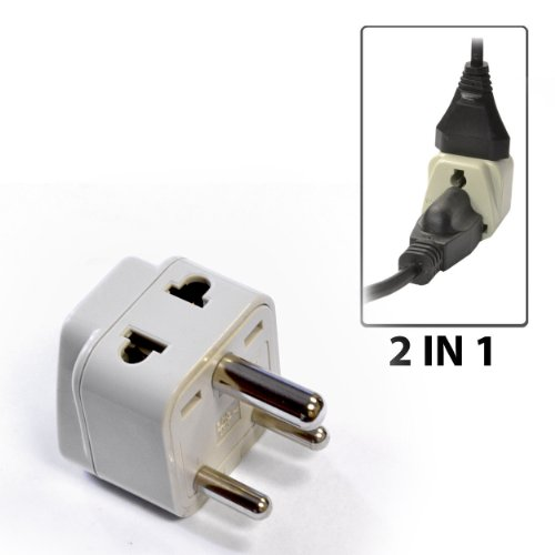 OREI Grounded Universal 2 in 1 Plug Adapter Type D for India, Africa & more - High Quality - CE Certified - RoHS Compliant WP-D-GN