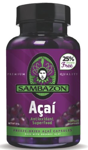 SAMBAZON Acai Capsules, 75-Count Bottle (Pack of2)