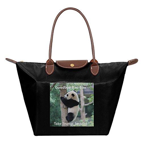 panda-baby-meme-foldable-large-tote-bags-shopping-handbags-black