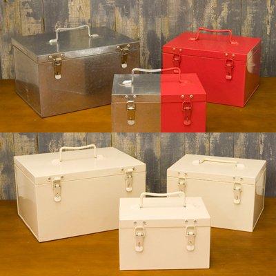 ブリキでシンプルなボックス♪MED TIN ツールボックス♪3ヶセット♪ (こちらの商品の内訳は『番号(Ivory)/アイボリー♪\-』のみ)