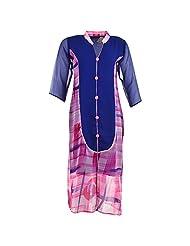 Karni Women's Georgette Pink & Blue Kurti