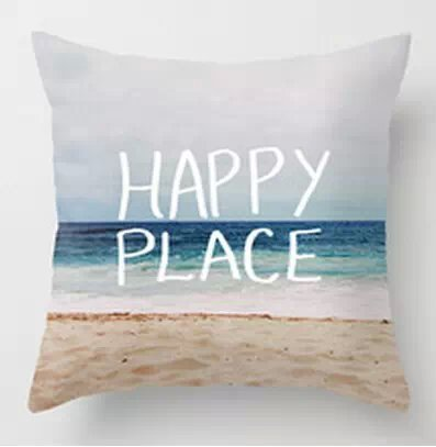18 x 18 two sides Hot Sale My Happy Place Beach Throw Pillow