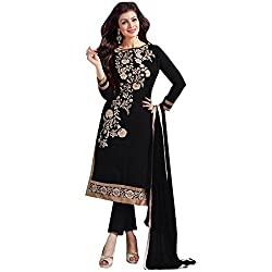 BMR Glowing Black Designer Embroidary Straight Salwar Suit