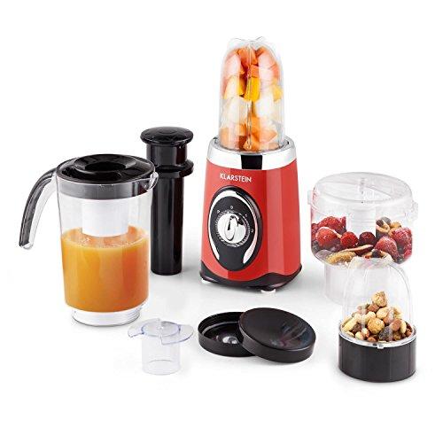 Klarstein Fruizooka - Mixeur/blender multifonction, machine à smoothies 4-en-1 avec nombreux accessoires pour hacher, émincer, moudre, raper... (moteur de 220W, 3 conteneurs)