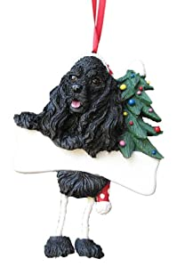 "Cocker Spaniel Ornament Black with Unique ""Dangling Legs"" Hand Painted and Easily Personalized Christmas Ornament"