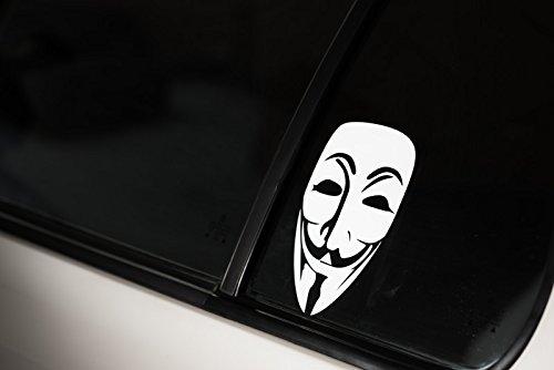 Anonymus-V-pour-Vendetta-autocollant-Stickers-Tuning-Blanc-Fun