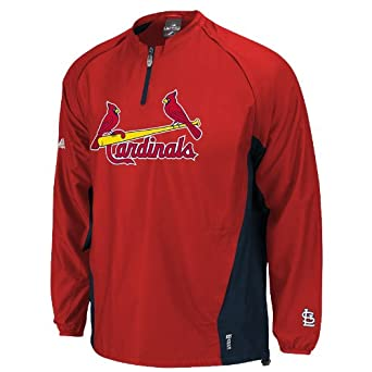 MLB St. Louis Cardinals Long Sleeve Lightweight 1 4 Zip Gamer Jacket, Red Navy by Majestic