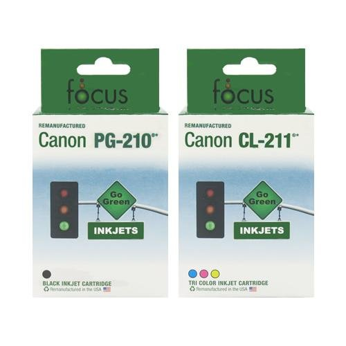 PG210 CL211 Remanufactured CANON 2-Pack Printer Ink Cartridge PG-210 CL-211 Black/Color Cartridges for PIXMA iP2702 MP240 MP250 MP270 MP280 MP480 MP490 MP495 MX320 MX330 MX340 Wireless MX350 Wireless - by Focus