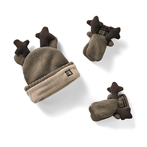 Legendary Whitetails Toddler Knit Deer Hat & Mitten Set Brown