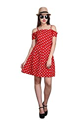 New Sierra women Red Summer cool off shoulder stripe polka dot dress