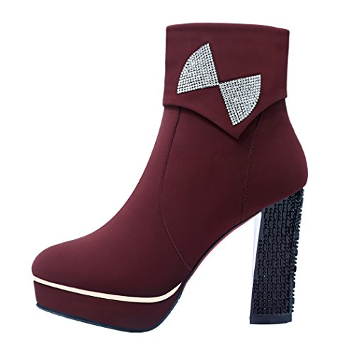 Guciheaven Winter New Style Cz Diamond Rough Heels Short Boots(8 B(M)Us, Red)