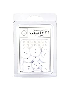 American Crafts Elements Buttons, White