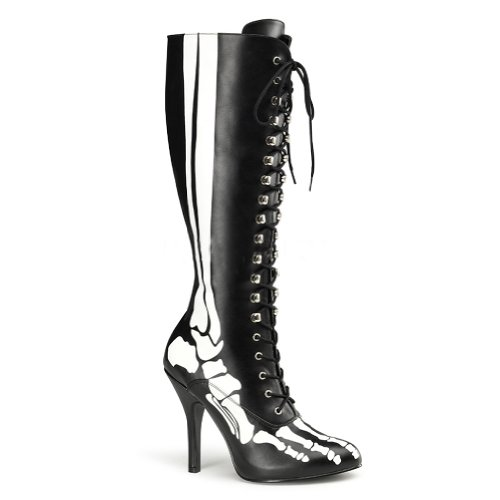 4 1/2 Inch Sexy Knee High Boots Skeleton Costume Boots Black Bones