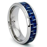 8MM Stainless Steel Ring with Blue Carbon Fiber Inlay Sizes 8 to 13