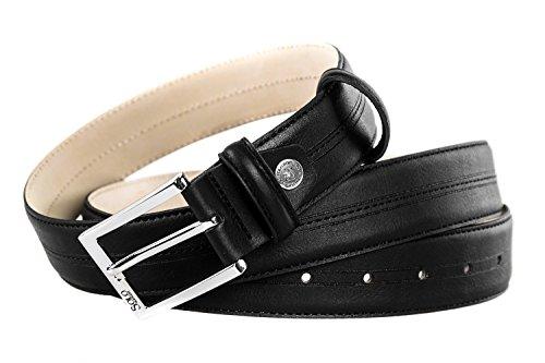 Cintura uomo SOLO SOPRANI nera cinta casual impunturata lunga 120 cm R5165