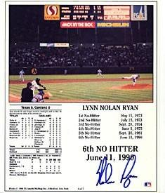 Nolan Ryan Autographed 6th No Hitter Card - Signed MLB Baseball Cards