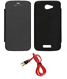 TBZ Flip Book Cover Case -Black for Micromax Unite A092 with AUX Cable