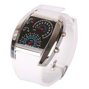 BestOfferBuy - Compteur de vitesse stylé de l'aviation LED bleue montre-bracelet cad'an blanc argenté