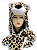 Plush Leopard Animal Hat - Leopard Hat with Ear Flaps and Hand Pockets