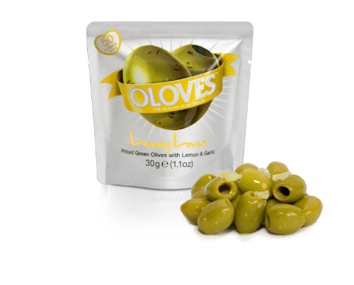 Oloves Lemony Lover, 48 x 1.1oz, Pitted Green Olives with Lemon and Garlic