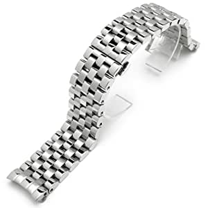 24mm Polished SUPER Engineer Solid Links Stainless Steel Curve End Watch Band for Panerai 44mm, PAM112