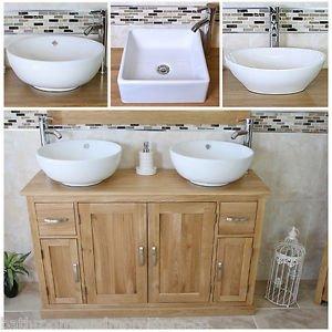 Solid Oak Bathroom Vanity Unit Cabinet Twin Ceramic Bowl Basin Tap Plug 402Multi