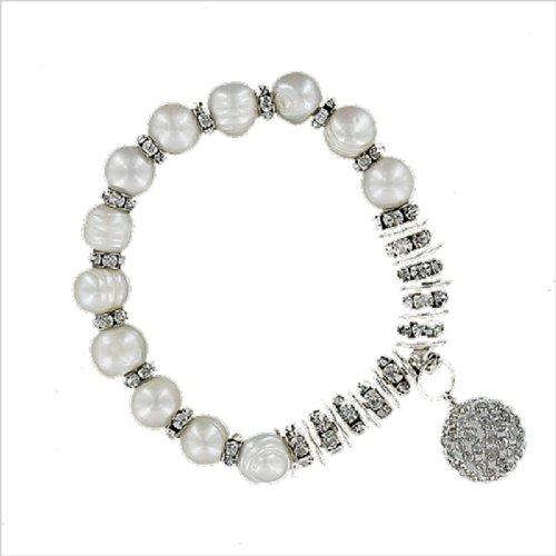JOA Rondelle W Crystal Ball Charm Bracelet #040878