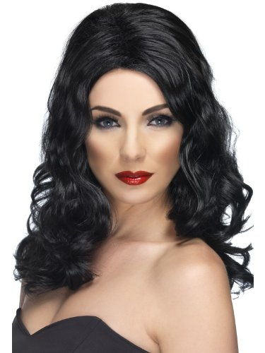 Smiffy'S Glamourous Wig, Black, One Size