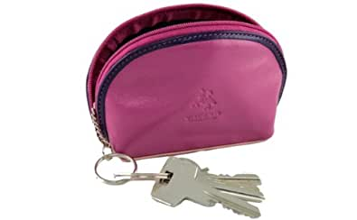 Visconti RB63 Multi Colored Berry/Purple/Dusty Pink Ladies Leather Coin Purse Key Wallet With Key Chain