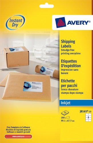 Avery - J8165-25 - 200 étiquettes d'expédition blanches adhésives personnalisables. 99,1x67,7mm. Impression jet d'encre