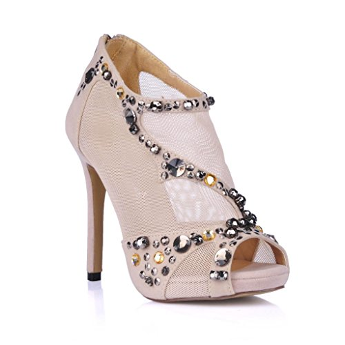 DolphinGirl Women Fashion Glitter Nude Peep Toe High Heels Sandals Boots Shiny Ankle Booties Formal Wedding SM00451
