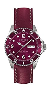 Oxygen Grape 36 Unisex Quartz Watch with Red Dial Analogue Display and Red Leather Strap EX-D-GRA-36-CL-Pl