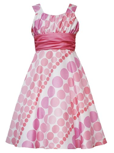 Rare Ediitons Girls PLUS SIZE CORAL-PINK IVORY DIAGONAL GRADED DOT SHANTUNG Special Occasion Wedding Flower Girl Easter Party Dress - 10.5