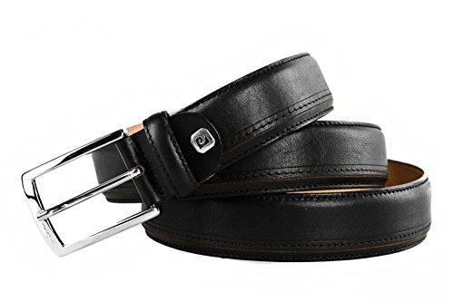 Cintura uomo PIERRE CARDIN nera in pelle made in Italy impunturata 110 cm R4700