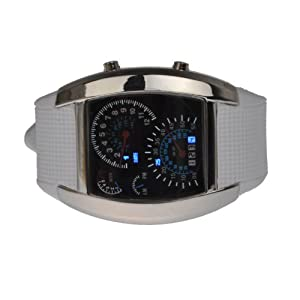Hotportgift RPM Turbo Flash LED Watch Gift Sports Car Meter Dial Men (White)