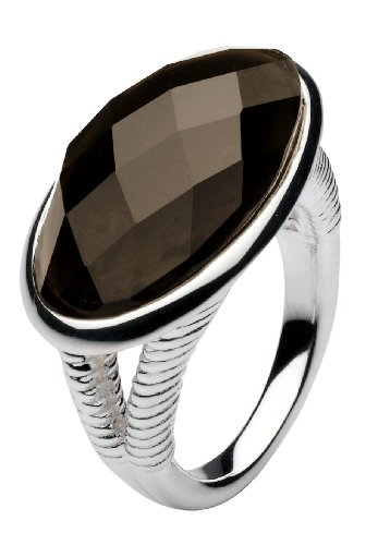 Kit Heath Sterling Silver Smoky Quartz Faceted Ring - Size M